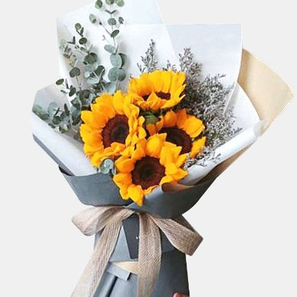 Blooming 4 Sunflower Bouquet: Flower Delivery Malaysia