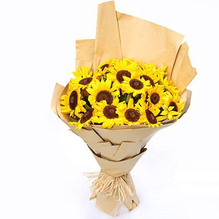 Blooming 20 Sunflowers Bouquet: Fathers Day Gift Ideas