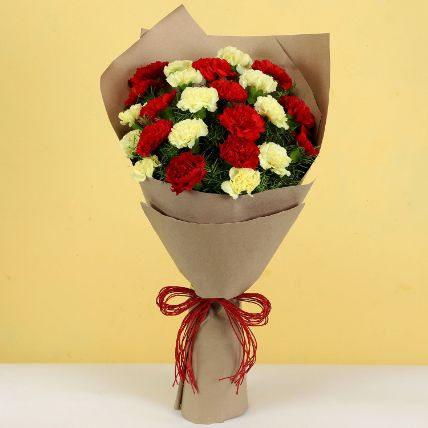 Blooming Red 7 Yellow Carnations Bouquet: Flower Delivery Malaysia