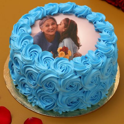 Blue Roses Photo Chocolate Cake: Gifts for Mother