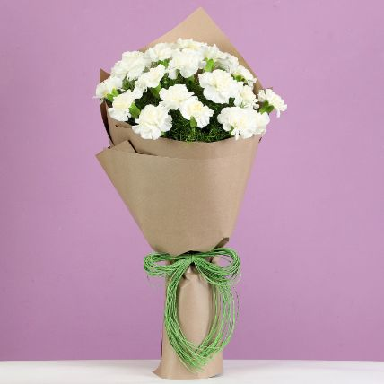 Enchanting 24 White Carnations Bouquet: Carnations Flowers