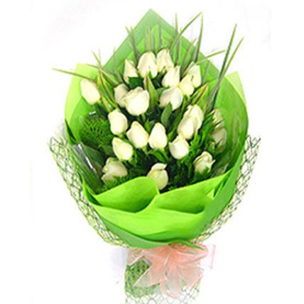 Exotic White Roses Bouquet: Sympathy And Funeral Flowers