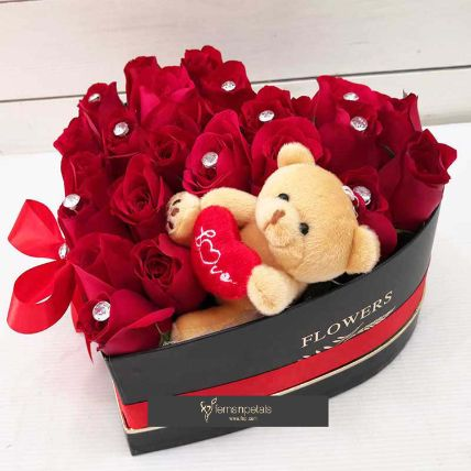 Teddy Love Heart Basket: Same Day Delivery Gifts