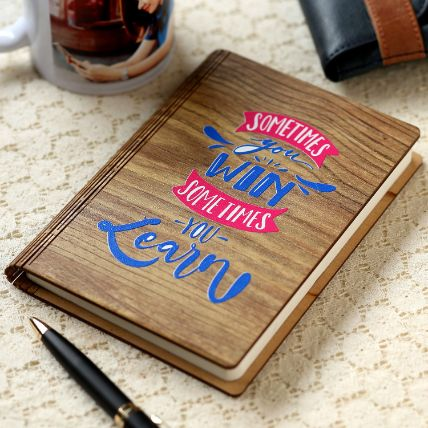 You Win You Learn Wooden Notebook: Personalised Gifts Malaysia