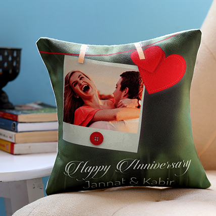 Personalised Anniversary Heart Cushion: Customized Gifts