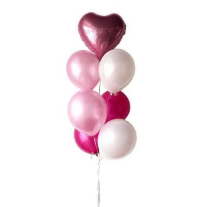 Personalised Foil Heart Balloon And Mixed Latex Balloons: