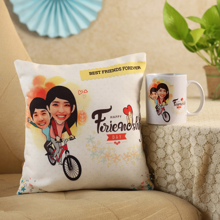Personalised Friends On Cycle Cushion Mug: Gifts for Friends