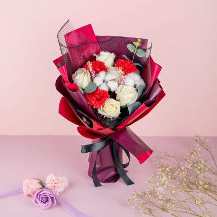Alluring Carnations And Roses Bouquet: Gifts Below 99