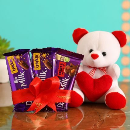 Cute Teddy With Dairy Milk Combo