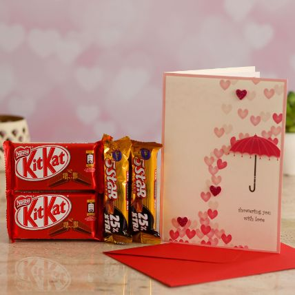 Love Umbrella Card With Kitkat and 5 Star
