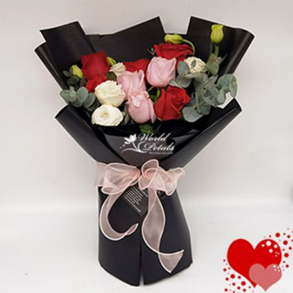Mixed Rose Bunch In Black Packaging
