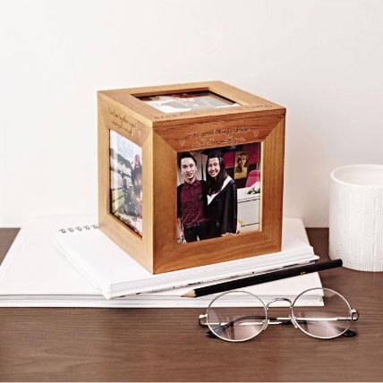 Personalised 5 Sides Engraved Wooden Photo Cube Box