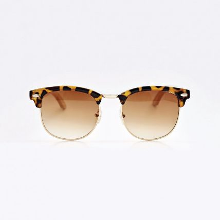 Personalised Clubmaster Brown Bamboo Sunglasses