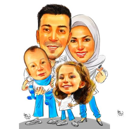 Personalised Cute Family Caricature A4