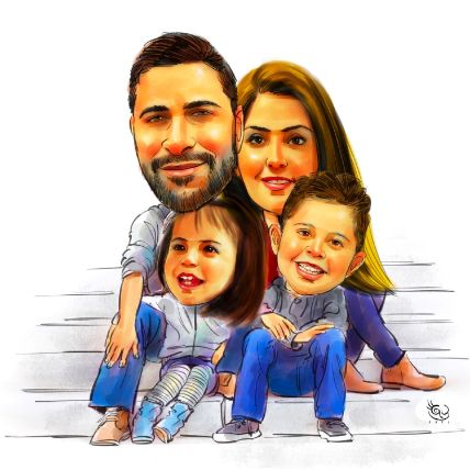 Personalised Family Caricature A4