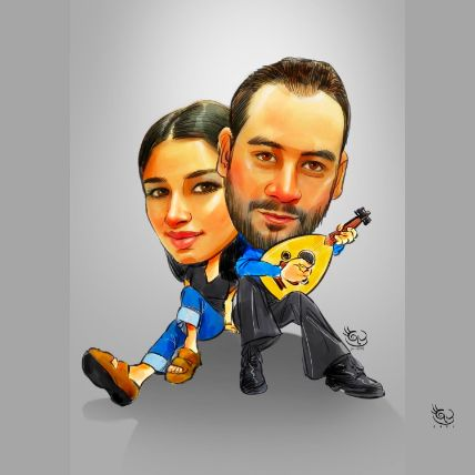 Personalised Filmy Couple Caricature A4