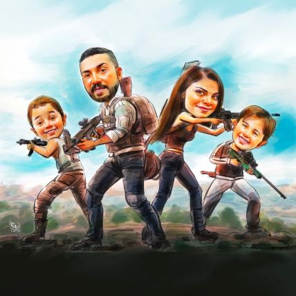 Personalised PUBG Family Caricature A3