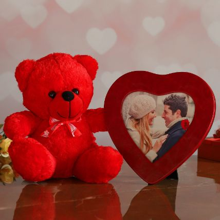 Red Heart Photo Frame And Cute Teddy