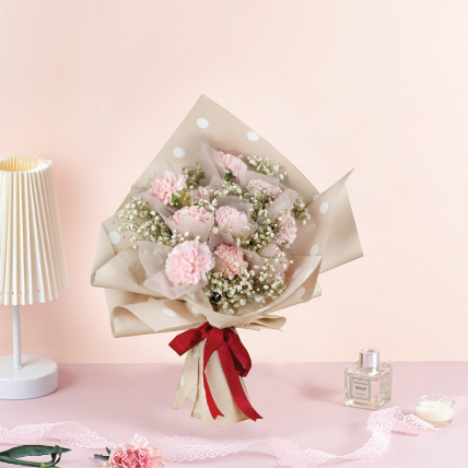 Delightful Pink Carnations Beautifully Tied Bouquet