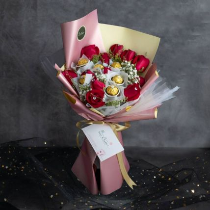 6 Stalks Red Roses Bouquet And Ferrero Rocher