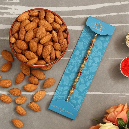 Traditional Golden Pearl Rakhi And Healthy Almonds