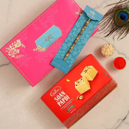 Traditional Golden Pearl Rakhi With 250 Gms Soan Papdi