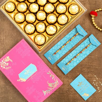 Traditional Pearl Studded Rakhis Set Of 2 With 16 Ferrero Rocher