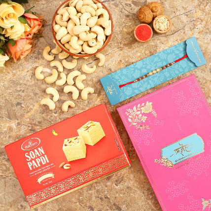 Golden Pearl Rakhi And Cashew With Soan Papdi