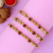 3 Pearl Studded Rakhis And Cashew With Soan Papdi