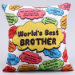 Sea Blue Pearl Rakhi And Worlds Best Brother Cushion